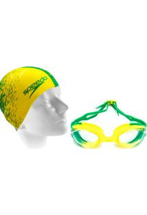 20611ce21 Kit Natação Óculos Hydrovision Brasil E Touca - Unissex