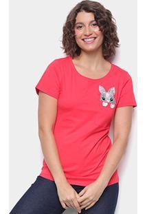 Camiseta Top Moda C/ Bolso Bordada Manga Curta Feminina - Feminino-Vermelho