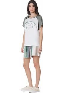 T-Shirt Zinco Decote Redondo Metalizada Off Off-White