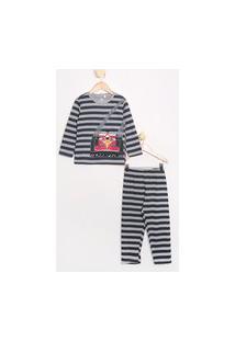 Pijama Infantil Carrinho Listrado Manga Longa Brandili Cinza