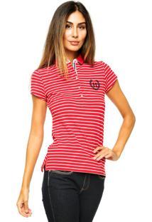 Camisa Polo Manga Curta Tommy Hilfiger Slim Fit Listrada Vermelha e072deefd0639