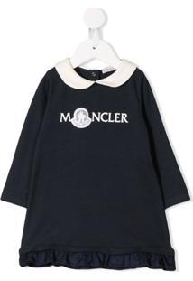 Moncler Kids Vestido Mangas Longas Com Logo - Azul