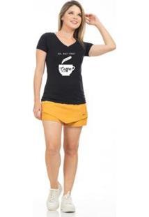 Camiseta Clara Arruda Baby Look Coffe Gola V Feminina - Feminino-Preto