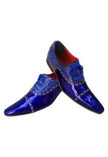 Sapato Masculino Italiano Oxford Em Couro Art Sapatos Azul Do Mar