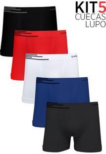 e7630141d6 Kit 5 Cuecas Boxer Lupo Microfibra Sem Costura - Azul