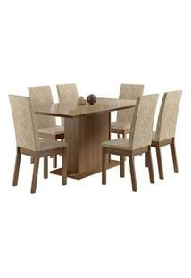 Conjunto Sala De Jantar Madesa Moscou Mesa Tampo De Vidro Com 6 Cadeiras Rustic/Crema/Imperial Rustic