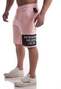 Bermuda Moletom Top Fit Design Masculina - Masculino-Rosa