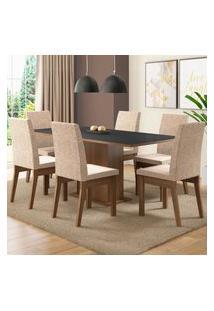Conjunto Sala De Jantar Madesa Cecília Mesa Tampo De Madeira Com 6 Cadeiras Marrom