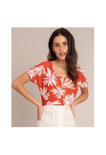 Camiseta De Flamê Estampada Floral Manga Curta Decote Redondo Marrom