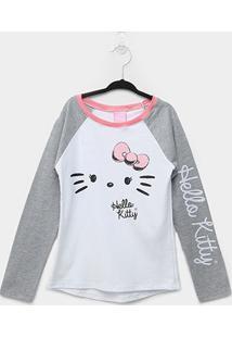 Blusa Infantil Hello Kitty Manga Longa Feminina - Feminino