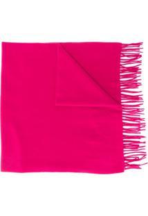 Moncler Cachecol Com Patch De Logo E Franjas - Rosa