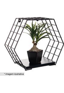 Cubo Hexagonal Com Prateleira Decorativo- Preto- 28Xmetaltru