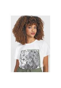 Camiseta Triton Flores Branca
