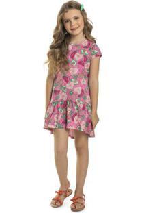 Vestido Infantil Mullet Frutas Rosa