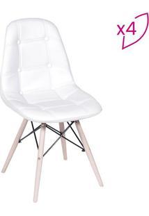 Jogo De Cadeiras Eames Botonãª- Branco & Bege Claro- Or Design