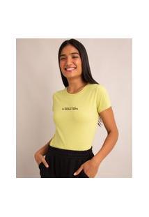 """Camiseta De Algodão Manga Curta Decote Redondo """"Achei Que Ia Dar Errado, Eu Estava Certa"""" Verde Claro"""