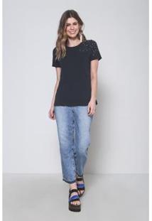 Camiseta Oh, Boy! Bordado Pedraria Feminina - Feminino-Preto