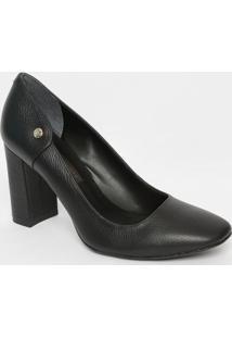 Sapato Em Couro Texturizado- Preto- Salto: 8Cmjorge Bischoff