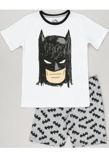 Pijama Infantil Batman Manga Curta Off White