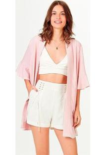 Casaco Kimono Em Viscose Com Linho Feminino - Feminino