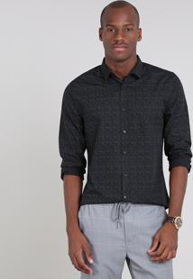 Camisa Masculina Slim Estampada Manga Longa Preta