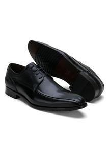 Sapato Social Masculino Em Couro De Amarrar Reta Oposta Preto