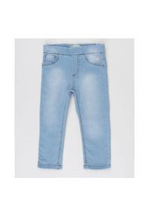 Calça Jeans Infantil Com Bordados Azul Claro