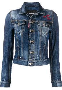 Dsquared2 Jaqueta Jeans Cropped Com Bordado - Azul
