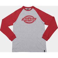 Camiseta Dickies Raglan Manga Longa Masculina - Masculino-Cinza+Vermelho c0679c4afa265
