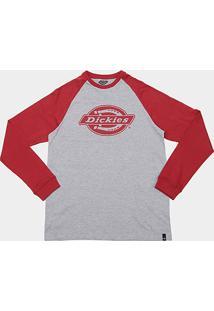 5c7ddefed5 Camiseta Dickies Raglan Manga Longa Masculina - Masculino-Cinza+Vermelho