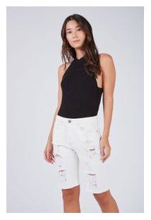 Bermuda Sarja Fit Color Off White