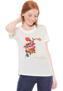 Camiseta Desigual Bordada Off-White
