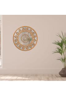 Escultura De Parede Wevans Mandala Clean, Madeira + Espelho Decorativo