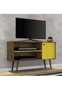 Rack Para Tv Até 42 Polegadas 1 Porta 1 Prateleira Jade 2074996 Madeira Rústica/Amarelo - Bechara Móveis
