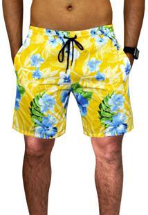 Bermuda Estampada Ks Floral Amarela Tactel Verão C/ Bolsos Laterais Ref.394.9