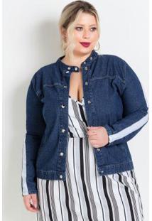 Jaqueta Jeans Com Faixa Contrastante Plus Size