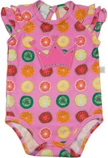 Body Infantil Ano Zero Malha Estampa Digital Frutas Coroa Feminina - Feminino-Rosa