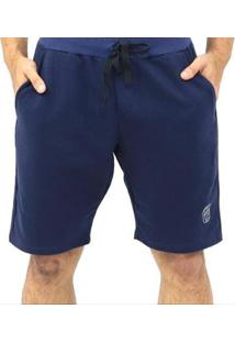Bermuda Moletom Cordão Bolsos Masculina - Masculino-Azul Escuro