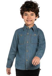 Camisa Infantil Manga Longa Jeans Azul