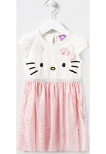 Vestido Infantil Hello Kitty Com Saia Em Tule - Tam 1 A 6 Anos