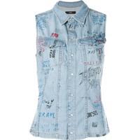 Diesel Camisa Jeans Sem Mangas - Azul 164986be6174d