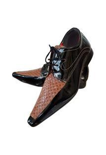 Sapato Masculino Italiano Oxford Em Couro Art Sapatos Marrom Madeira