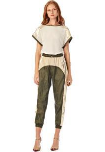 T-Shirt Iodice Decote Redondo Compose Tecidos Off Off-White
