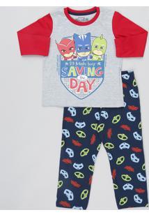 Pijama Infantil Pj Masks Manga Longa Cinza