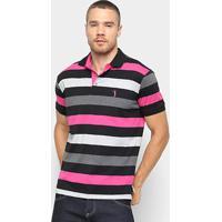Camisa Polo Aleatory Estampa Listrada Masculina - Masculino-Preto+Rosa 14dd4fd5abb22
