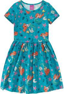 Vestido A Pequena Sereia® Menina Malwee Kids Azul Claro - 1
