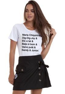 Camiseta Joss Estonada Estampada Maria Chiquinha& Branca