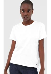 Camiseta Tommy Hilfiger Recorte Branca - Branco - Feminino - Algodã£O - Dafiti