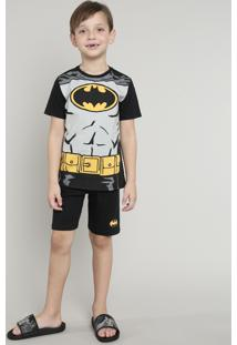 Pijama Infantil Carnaval Batman Manga Curta Preto