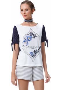 T Shirt Angel Manga Curta Flower Estampada Azul
